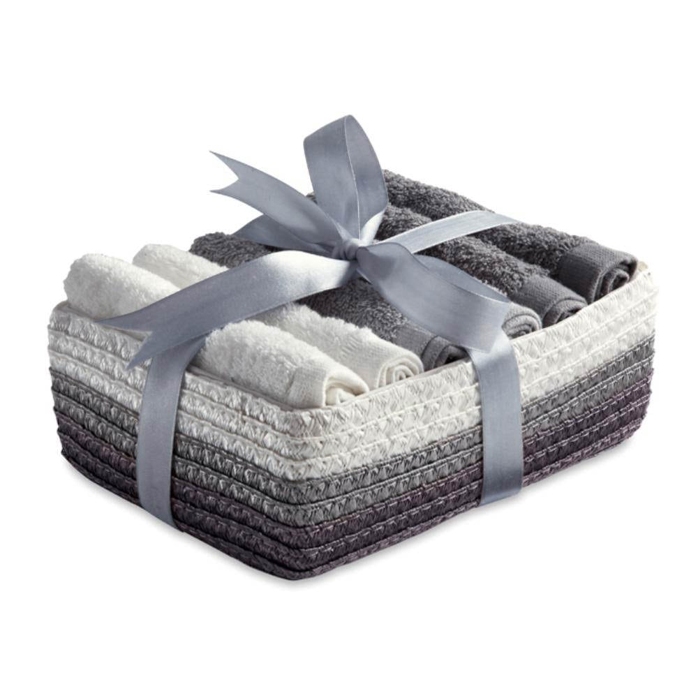 conjunto toallas cara algodón cesta
