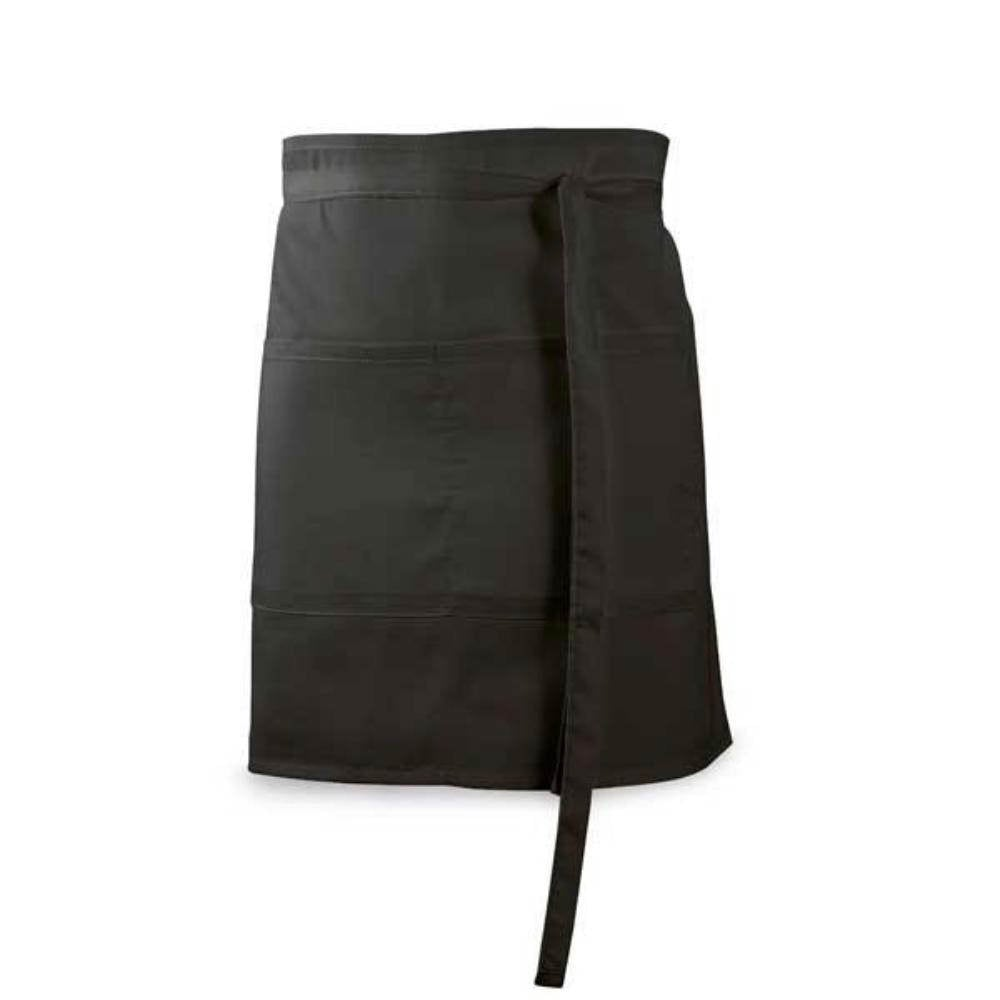 delantal bar corto bolsillos negro blanco