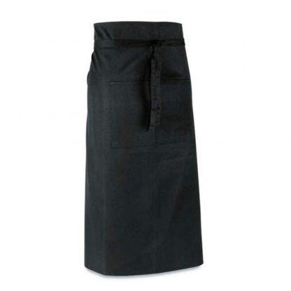 delantal bar largo bolsillos negro
