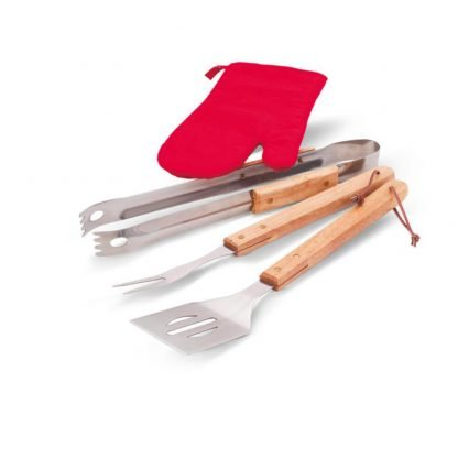 delantal barbacoa utensilios set