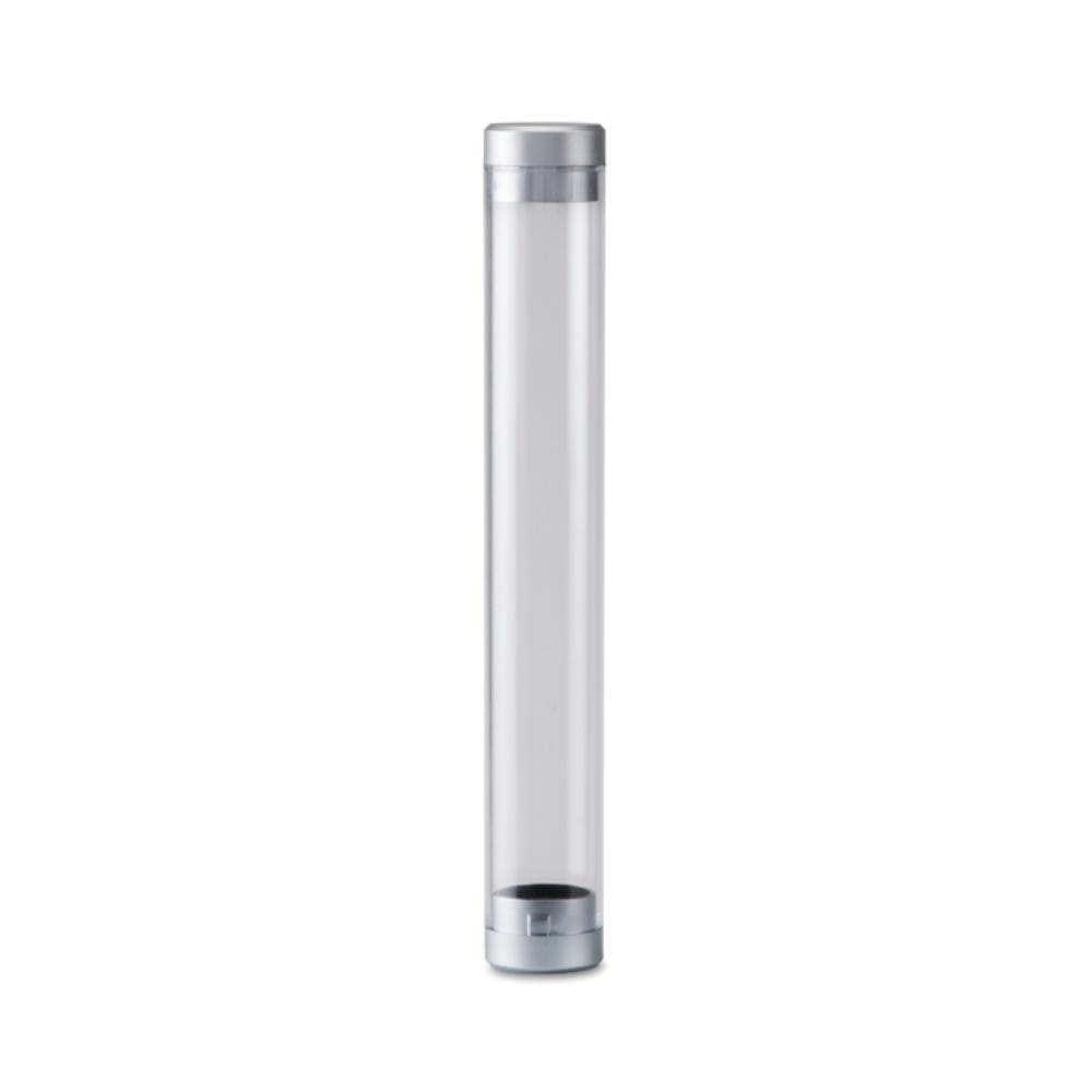 estuche tubo boligrafo plastico transparente