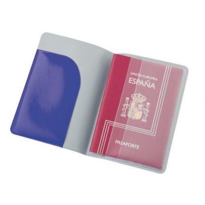 funda pasaporte pvc negro rojo azul viaje