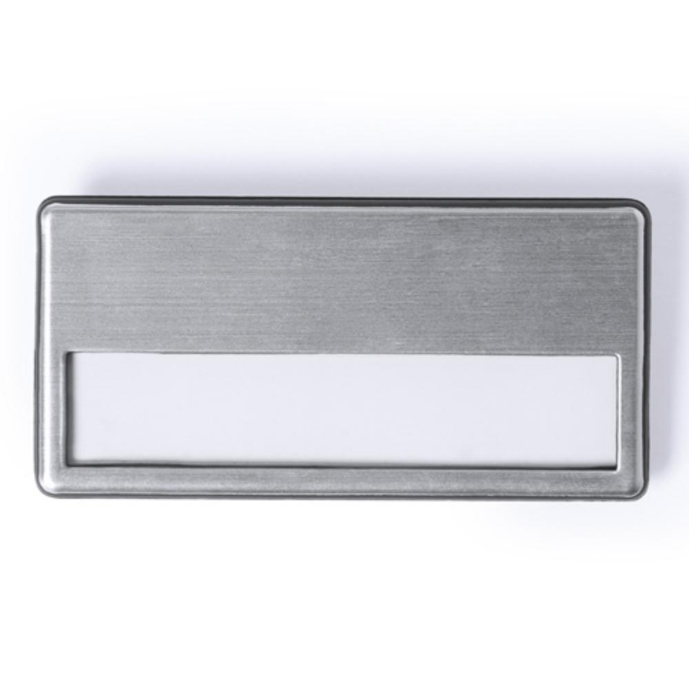 identificador aluminio plateado placa
