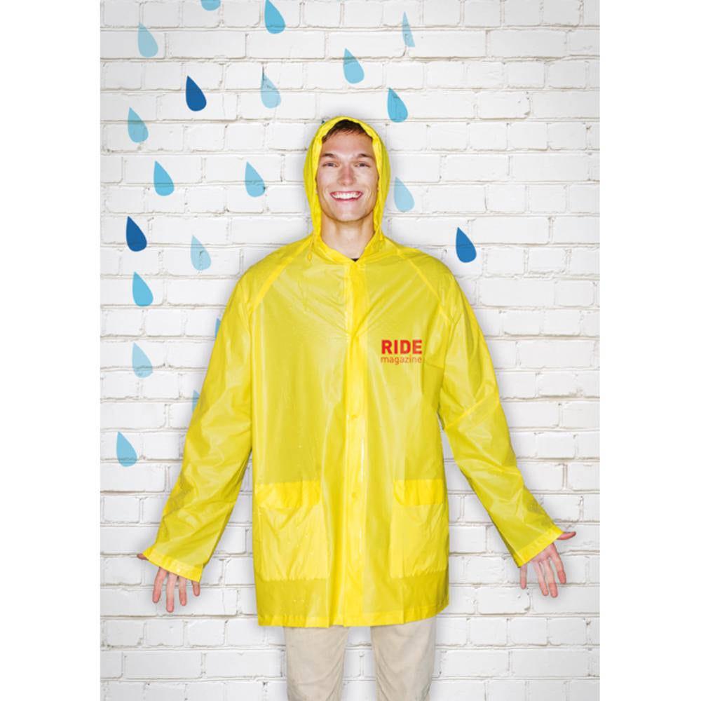 impermeable capucha bolsillos lluvia plastico