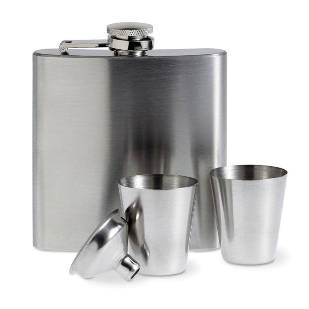 juego petaca aluminio con vasos