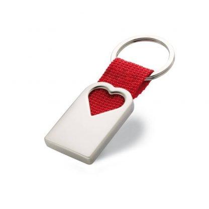 llavero metal forma corazon tira poliester