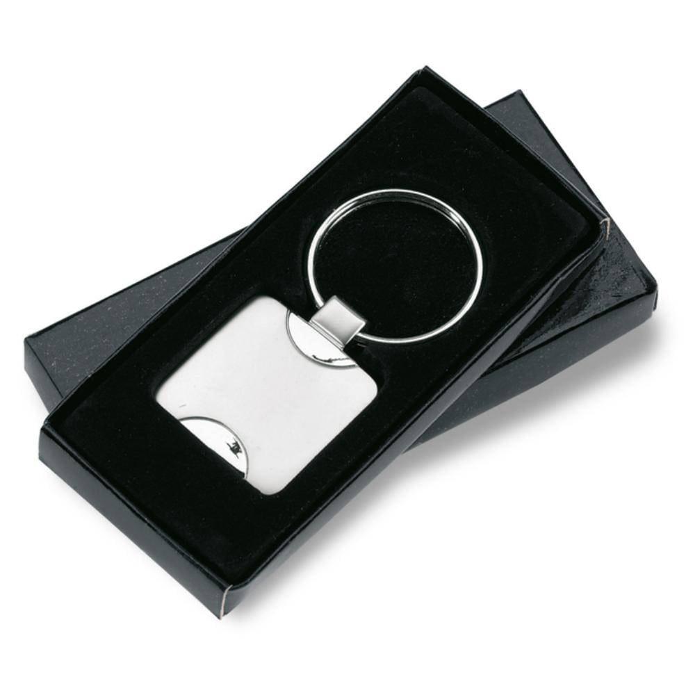 llavero metalico cuadrado caja individual