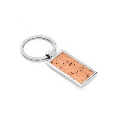 llavero rectangular metalico corcho cajita