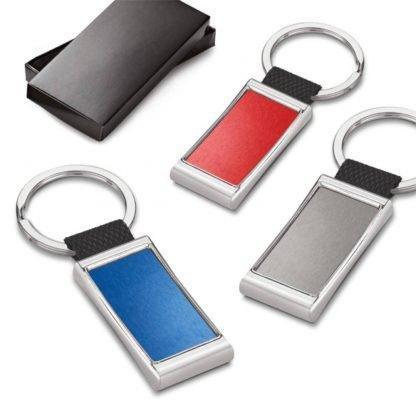 llavero rectangular metalico rojo negro azul