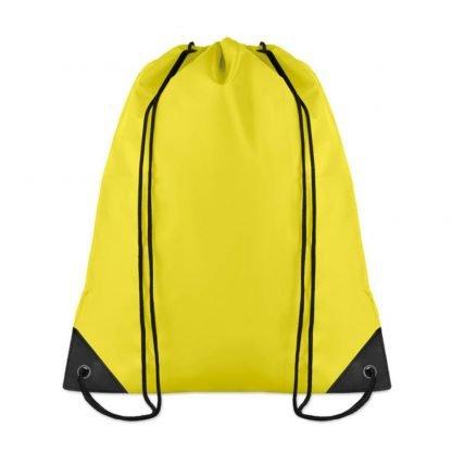 mochila cordones poliester basica deporte color amarillo