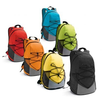 mochila cuerdas bolsillos amarilla azul rojo