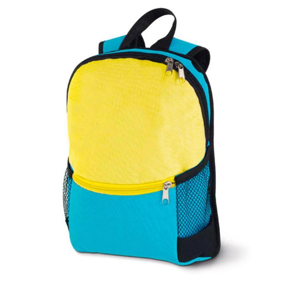 mochila infantil ninos azul amarilla bolsillos