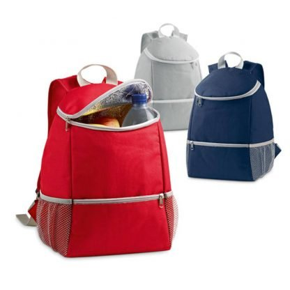 mochila nevera poliester roja gris azul