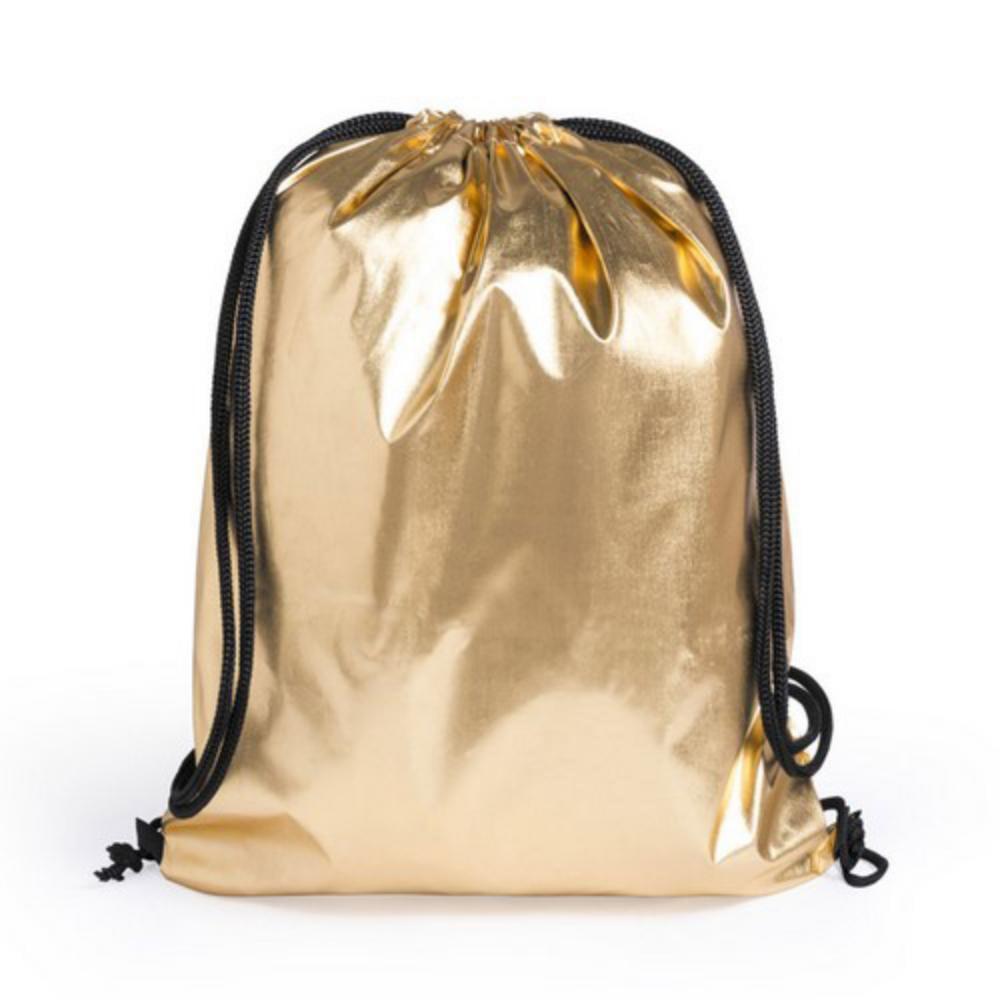 mochila poliester cordones plateada dorada diseno