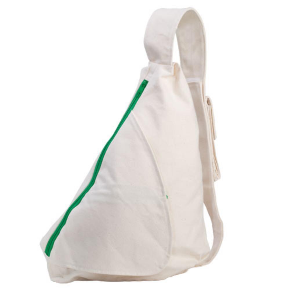 mochila triangular algodon cremallera