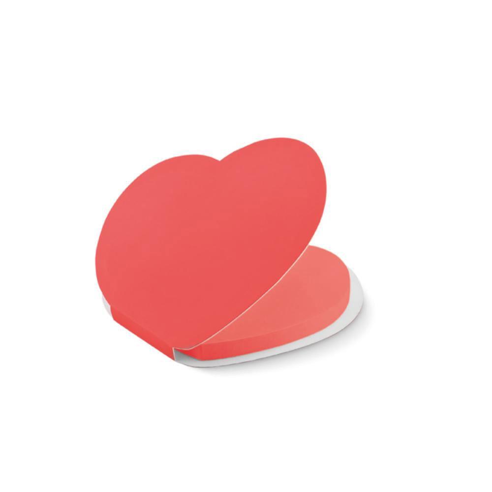 notas adhesivas forma corazon