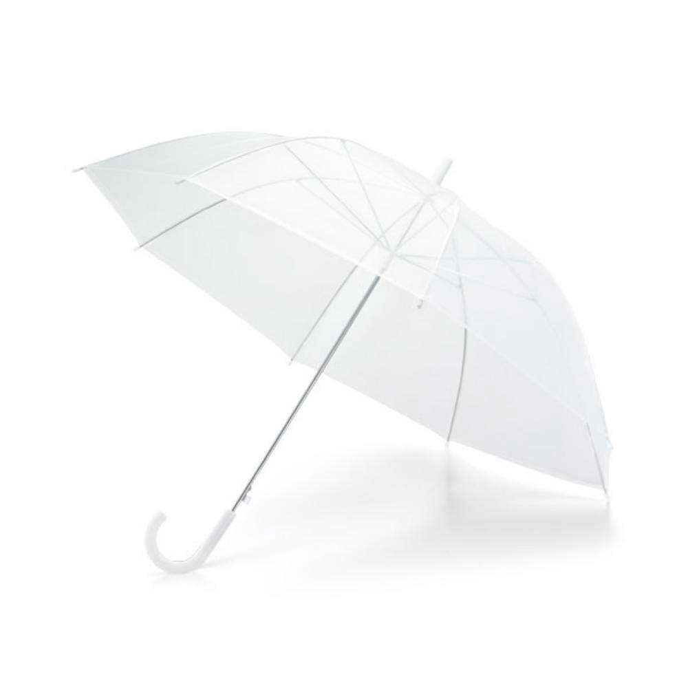 paraguas transparante mango blanco