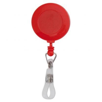porta acreditaciones clip cinta metrica rojo azul
