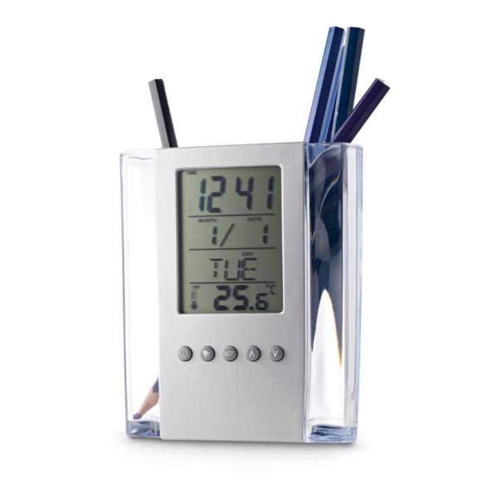 porta lapiceros boligrafos calendario alarma termometro