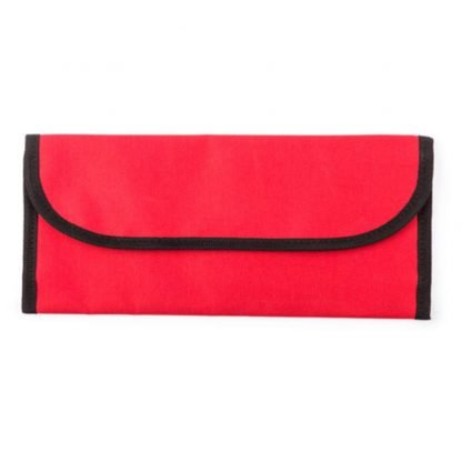 portadocumentos viaje poliester bolsillos azul rojo negro