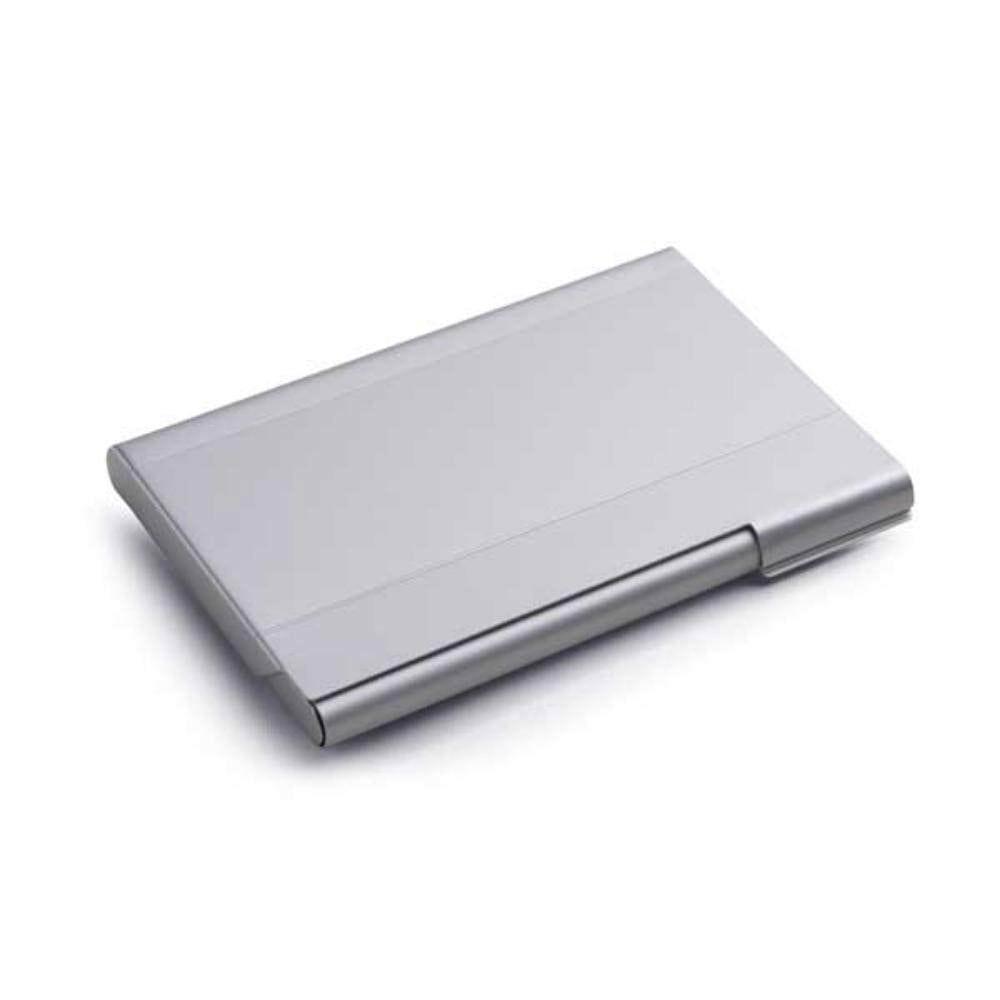 portatarjetas aluminio plateado