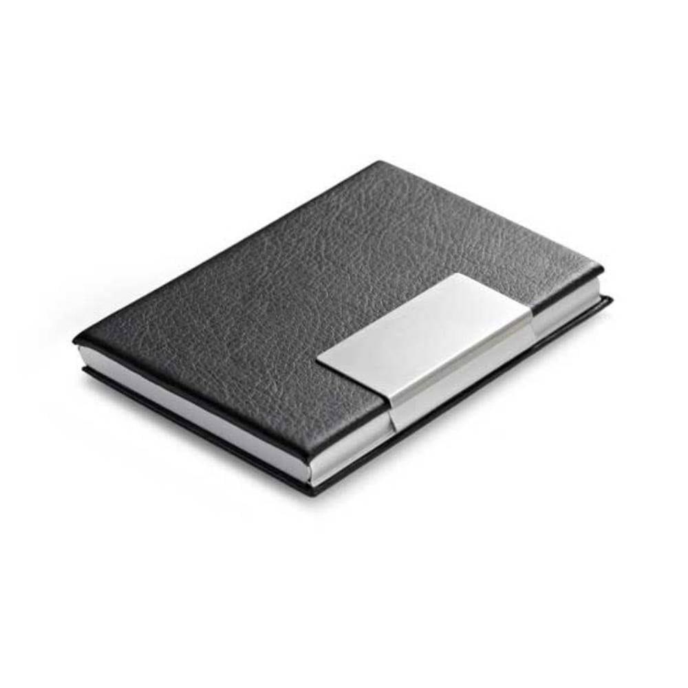 portatarjetas aluminio polipiel negro