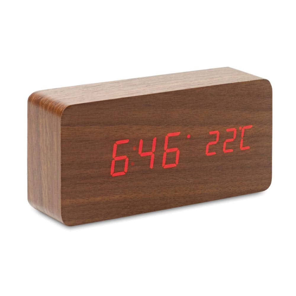 reloj diseno madera alarma sobremesa temperatura