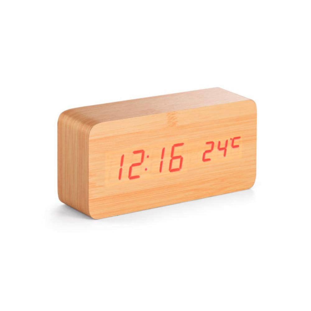 reloj madera diseno calendario alarma termometro