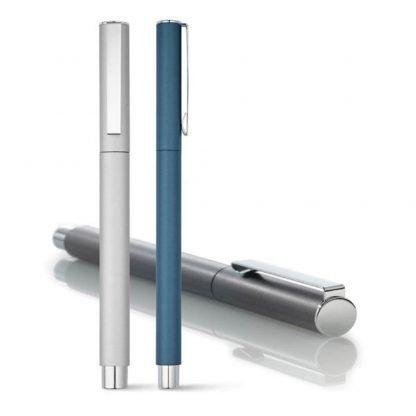 roller aluminio azul plata escritura azul