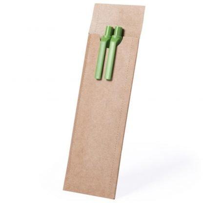 set boligrafo portaminas estuche carton reciclado