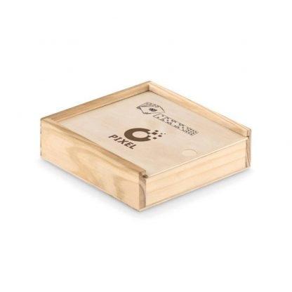 set cartas dados caja madera