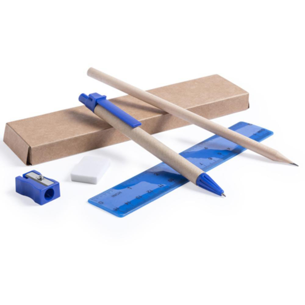 set carton reciclado infantil regla goma