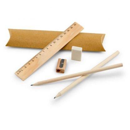 set escritura madera regla lapiceros borrador sacapuntas