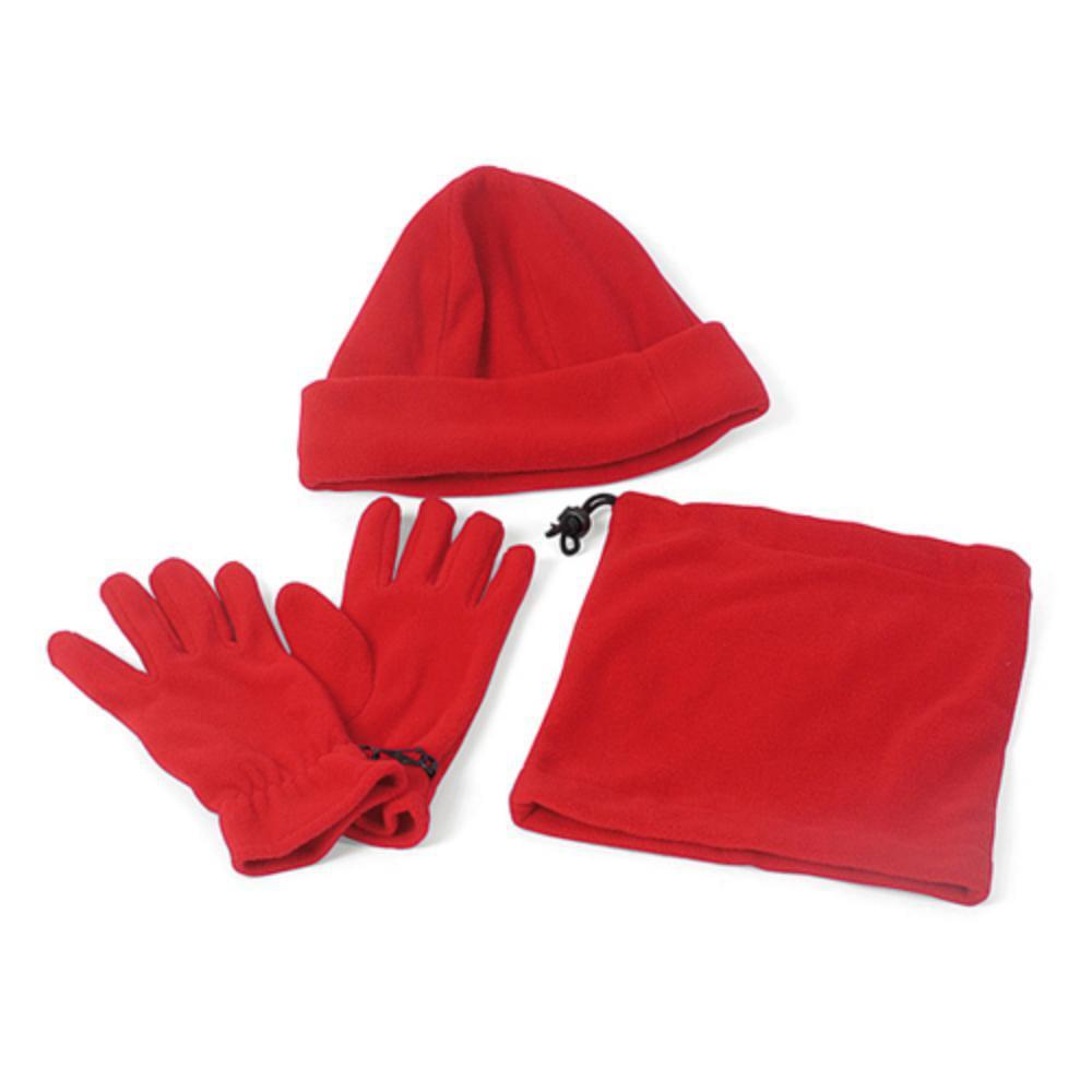 set forro polar guantes gorro braga rojo azul