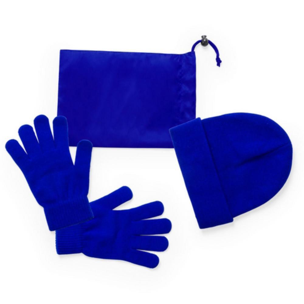 set gorro guantes funda rojo azul poliester acrilico