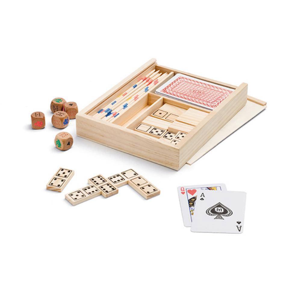 set juegos caja madera