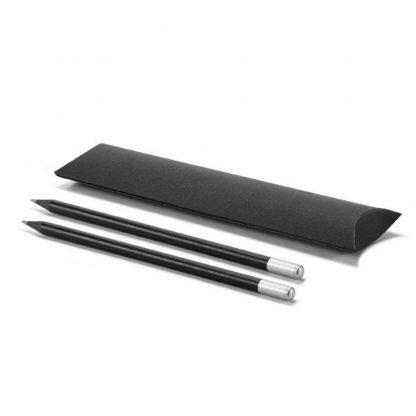 set lapices negro plata funda