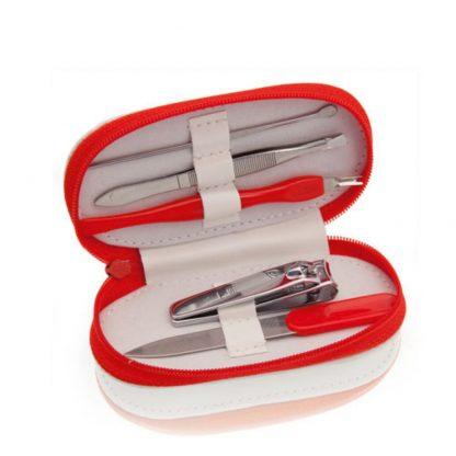 set manicura estuche poliester rojo rosa azul