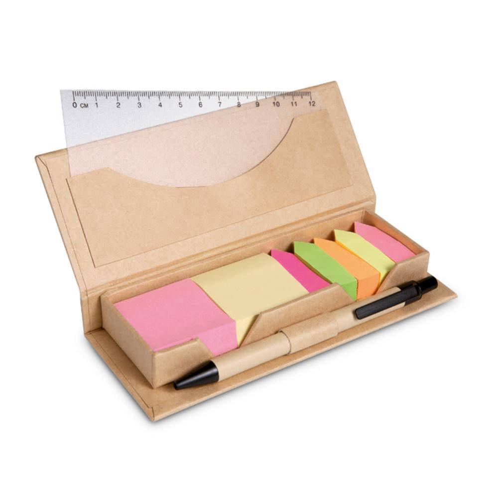 set oficina carton reciclado notas adhesivas
