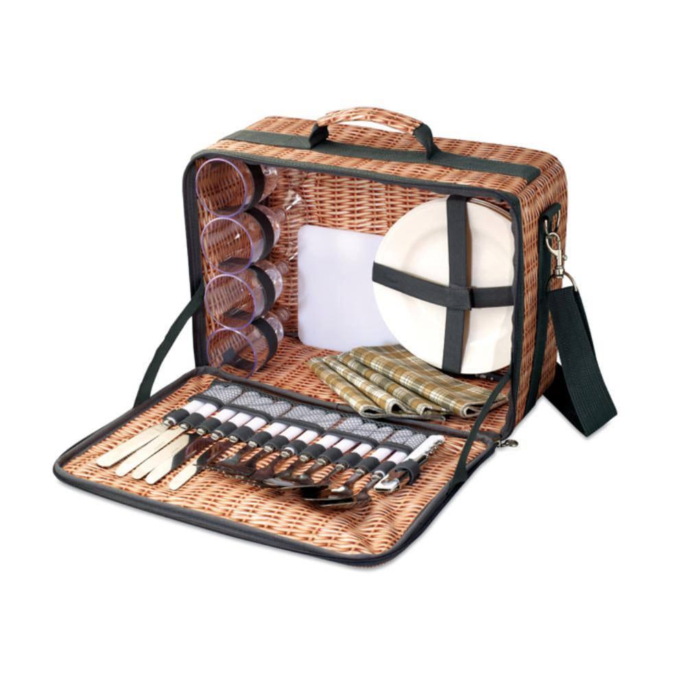 set picnic cesta mimbre utensilios