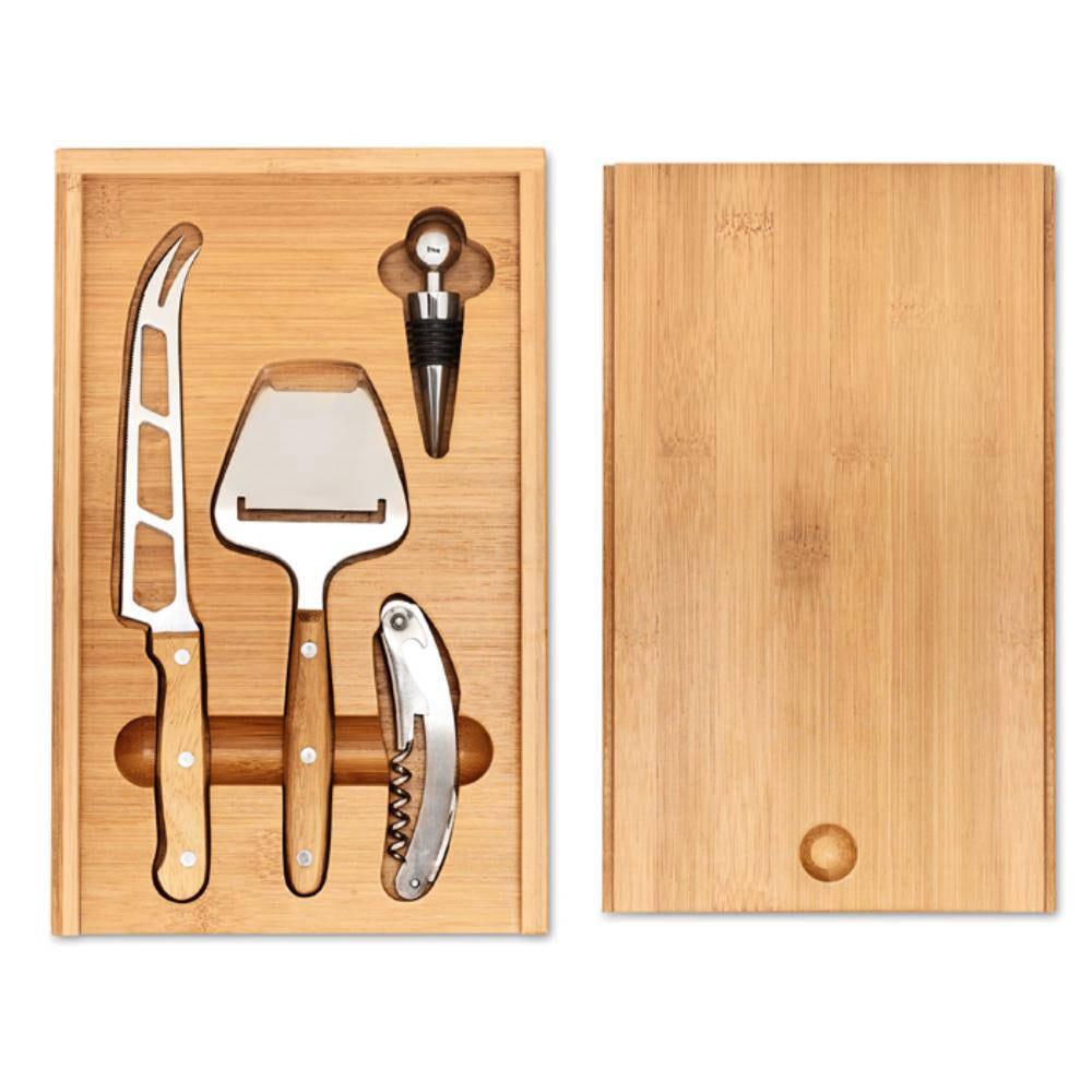 set quesos vino estuche bambu cuchillo rayador