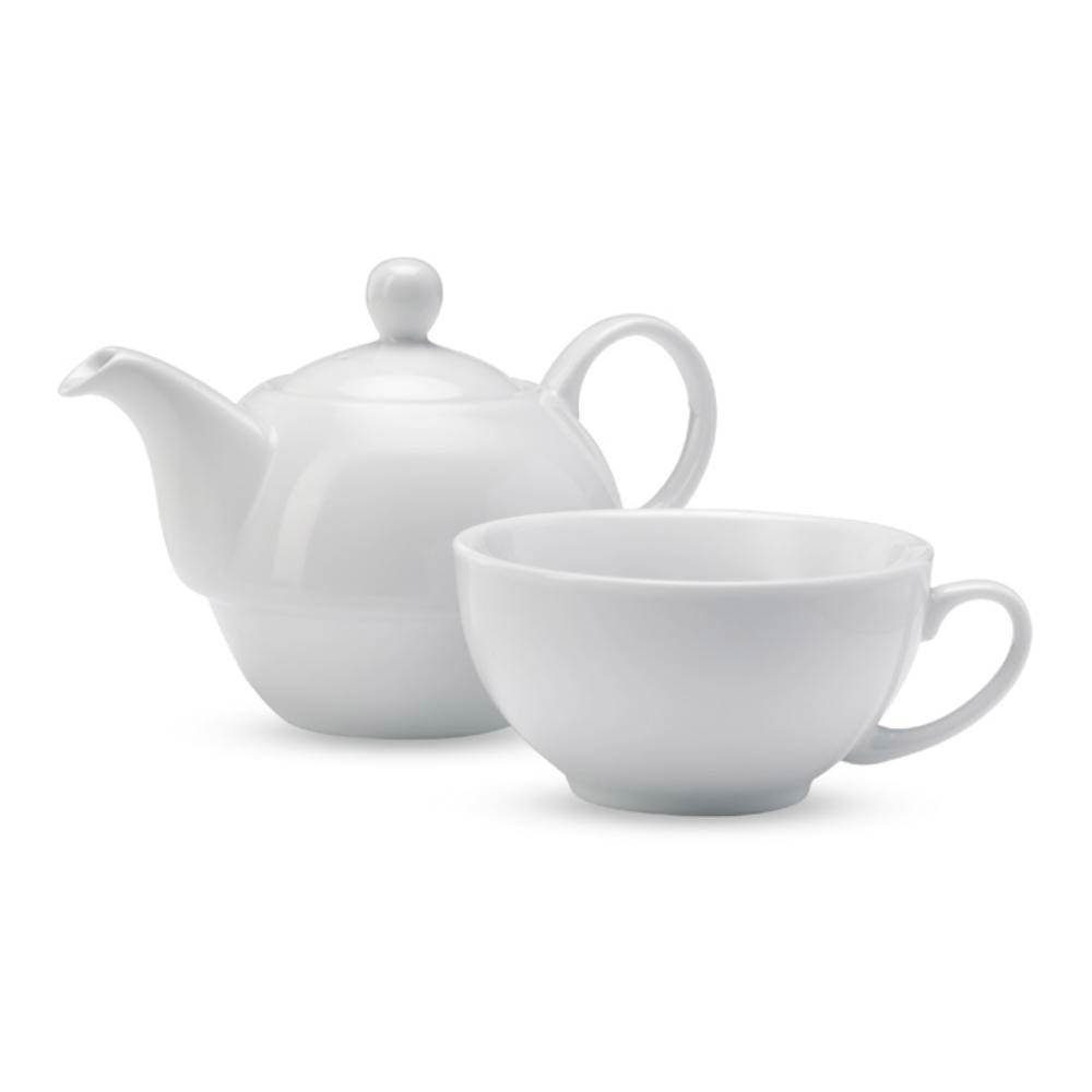 set tetera taza blanca cercamica