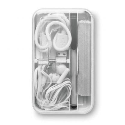 set viaje auriculares conector usb lapiz toalla