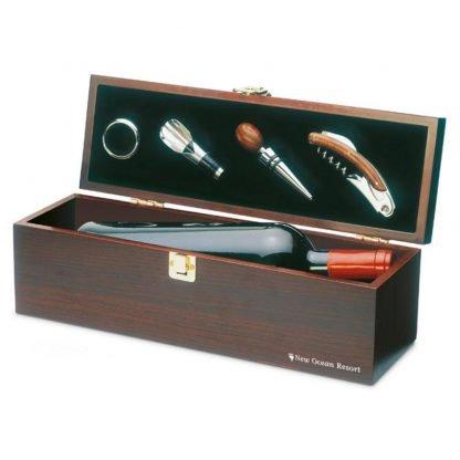 set vino accesorios caja madera sacacorchos tapon