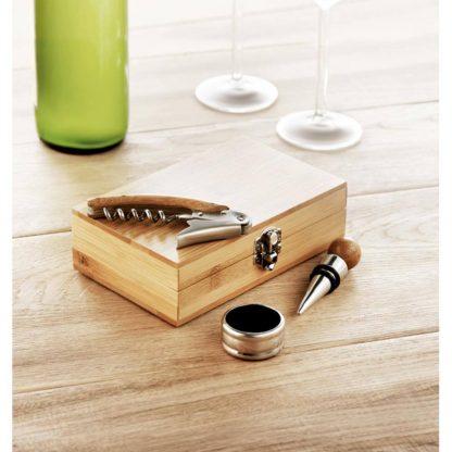 set vino caja bambu abridor sacacorchos tapon acero