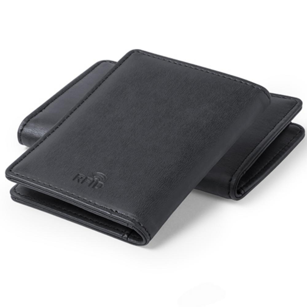 tarjetero protector rfid compartimentos polipiel negro