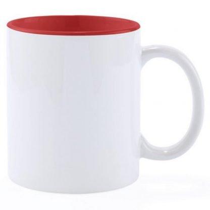 taza blanca interior color clasica mug barata