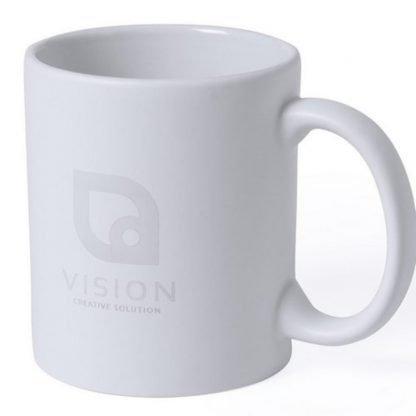 taza ceramica blanca interior color logo laser