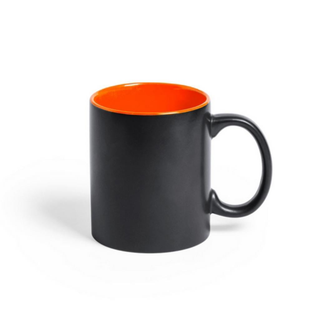 taza ceramica negra interior color logo laser