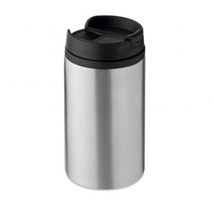 taza diseno acero negro plata azul termica